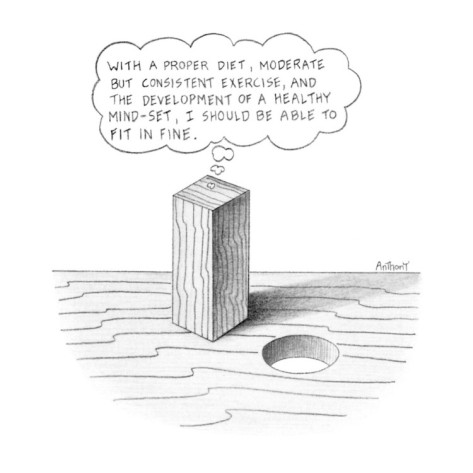 Anthony-taber-square-peg-looking-at-round-hole-thinking-with-a-proper-diet-moderate-bu-new-yorker-cartoon